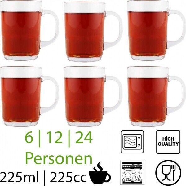 Glühwein Gläser Weihnacht Punsch Glas mit Henkel Henkelbecher Teegläser Stapel