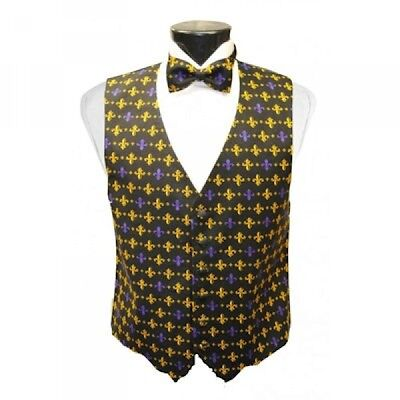 Mardi Gras Fleur de Lis Tuxedo Vest and Bow Tie - Mardi Gras Tuxedo Vest