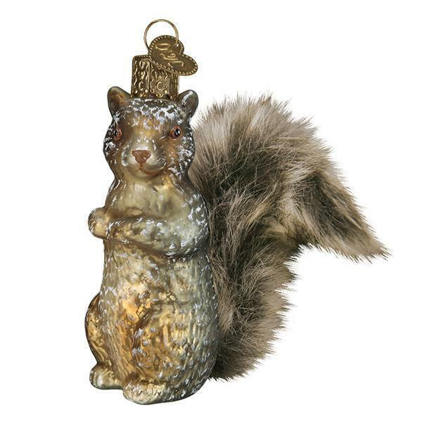VINTAGE WOODLAND SQUIRREL OLD WORLD CHRISTMAS GLASS ANIMAL ORNAMENT NWT 51012