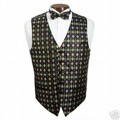 New Mardi Gras Diamond Pattern Tuxedo Vest Only - Mardi Gras Tuxedo Vest