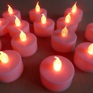 LED Flameless Flickering Tealight Candle Mood Lighting Pink