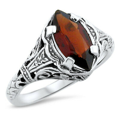 GENUINE GARNET .925 STERLING SILVER ANTIQUE DESIGN RING,            #818 Design Garnet Ring