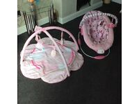 Baby bouncers and play gym/mat