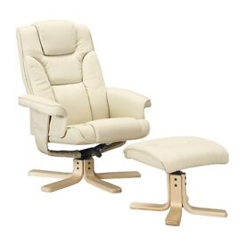 Cream leather reclining armchair RRP £160