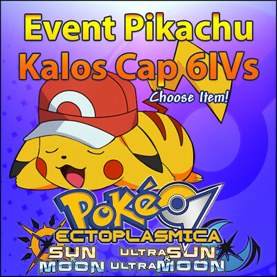 Ash's Pikachu Kalos Cap 6IV Event Movie 2017 Pokemon Sun Moon Ultra SM USUM