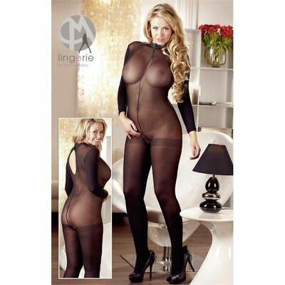 Mandy Mystery lingerie Langarm Catsuit ouvert schwarz XL/2XL Overall Anzug Body