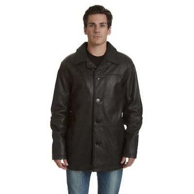 Mens Real Lambskin Leather Black Car Coat ()