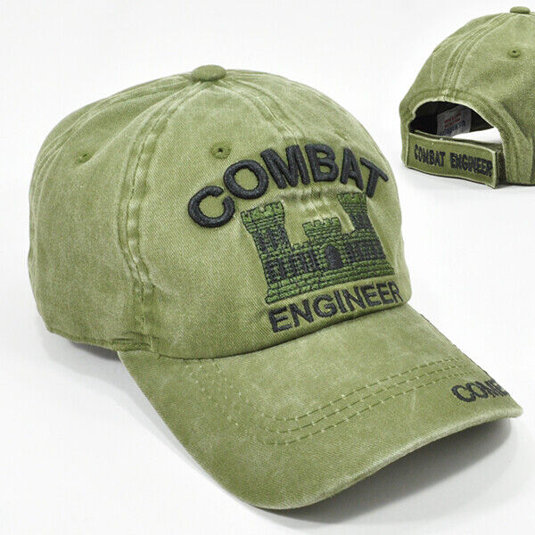 ARMY COMBAT ENGINEER OLIVE GREEN CAP HAT LOW PROFILE 100% COTTON ADJ BACK NEW
