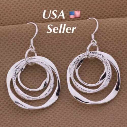 Womens 925 Sterling Silver 3 Circle Round Dangle Drop Hoop Hook Earrings  E42 Earrings