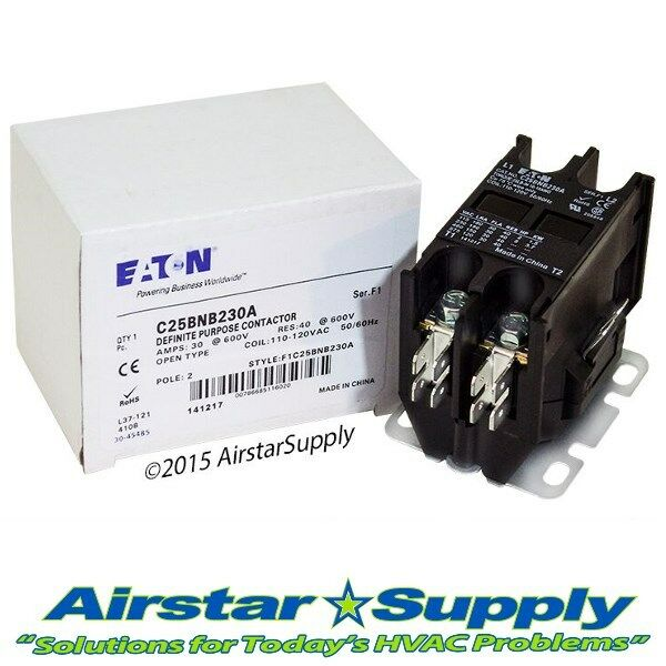 C25BNB230A Eaton / Cutler Hammer Contactor • 30 Amp • 2 Pole • 110/120V Coil