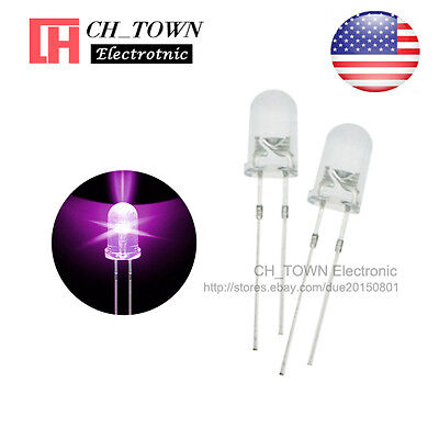 100pcs 5mm Led Diodes Water Clear Purpleuv Light Round Top Ultra Violite Usa