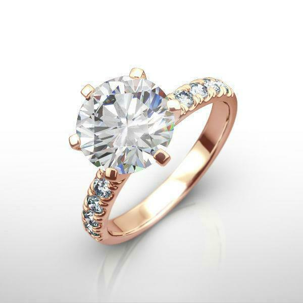 2 Ct Estate Round Diamond Ring Earth Mined Anniversary Vvs 14k Rose Gold Red