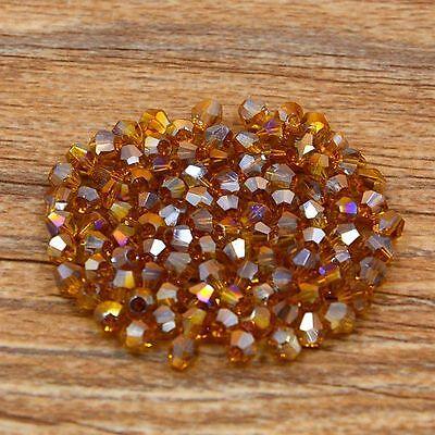 Swarovski 5301# 4 mm Bicone Crystal bead A 100 Pieces Amber AB
