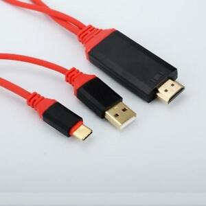 Type-C (USB-C 3.1) to HDMI HDTV TV Adapter USB Cable 1080P - Red & Black