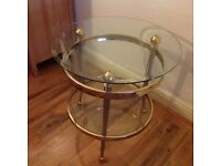 SIDE TABLE - Vintage - ROUND CLEAR GLASS & BRASS SIDE TABLE