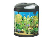 Fish Tank Medium Aquarium for sale, vertical with round front 19 litres with pump & daylight bulb