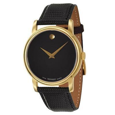 Movado 2100005 Black / Black Leather Analog Quartz Women's Watch