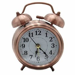 Vintage OLD STYLE Alarm Clock MINI Twin Metal Bell Mute Silent Analog BRONZE
