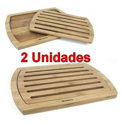 2 x Tabla de cocina para Cortar Pan madera Bambú 36x25x1,8cm,bandeja recogemigas