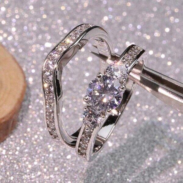 Luxury 925 Silver White Sapphire Wedding Engagement Rings Se