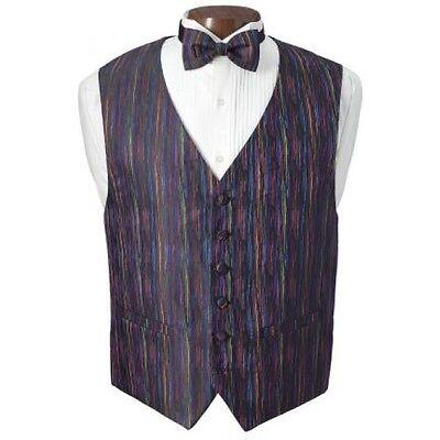 New Mardi Gras Multi Color Tuxedo Vest and Bowtie - Mardi Gras Tuxedo Vest