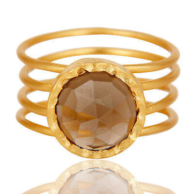 22K Gold Plated Wiring Design Gemstone Statement Ring Unique Fashion Jewelry Ring Gold Plated Wire Design
