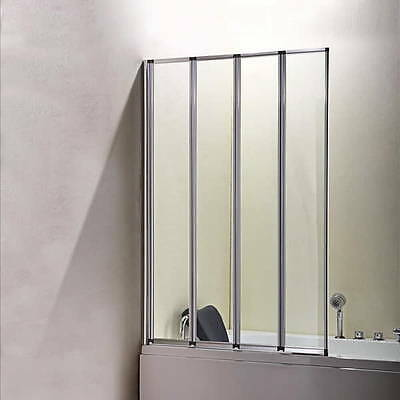 Aica 900x1400mm 4 Fold Folding Bath Shower Screen Chrome Frame Door Panel Glass