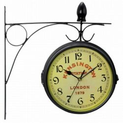 Bedford Double Sided Wall Clock Vintage Antique-Look Mount Station Clock