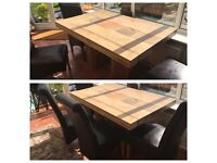 Solid Acacia table with 4 chairs