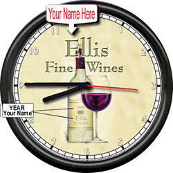 Personalized Your Name Winery Vintage Yr  Wine Cellar Bottle Bar Sign Wall Clock