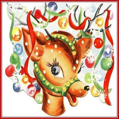 30 Custom Christmas Reindeer Art Personalized Address Labels