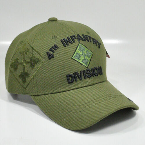 4th INFANTRY DIVISION OLIVE GREEN US ARMY MILITARY BASEBALL CAP HAT 4th INF DIV
