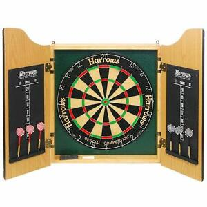 New Harrows Dart Board Cabinet Set FREE SHIPPING dartboard darts unicorn winmau flights bristle sisle