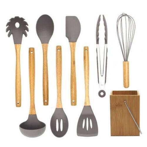 Kitchen Utensil Silicone Bamboo Spoon Spatula Nonstick Cooki