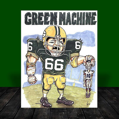 RAY NITSCHKE Green Bay Packers POSTER ART, artist signed, football, vintage NFL ()