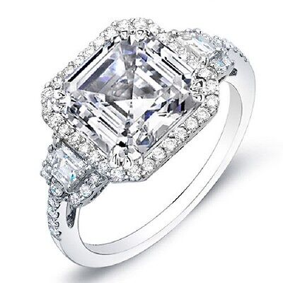 2.11 Ct Asscher Cut & Terapezoid w/ Halo 3-Stone Diamond Ring 14K F,VS2 GIA
