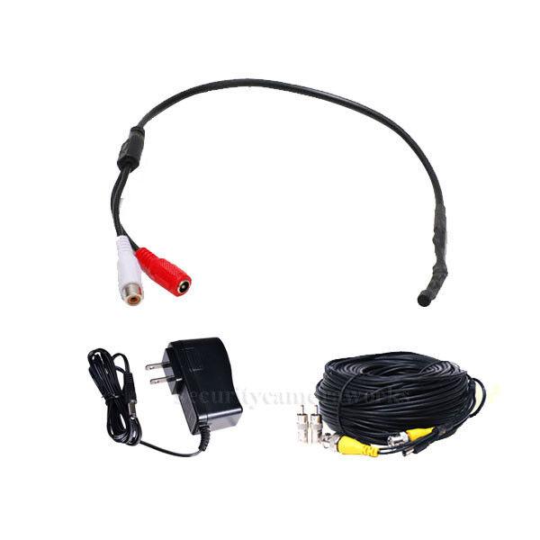 CCTV High Sensitive Microphone Security Camera RCA Output Audio Power Cable bpk