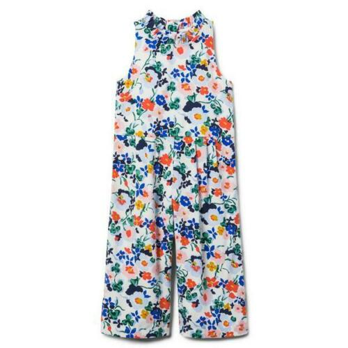 NWT Janie & Jack Floral Jumpsuit Romper Blue Coral Green Yellow Girls sz  6
