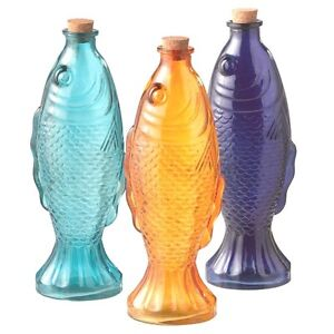 Grasslands rd ocean lake fish shaped colored glass for Colored glass bottles with corks