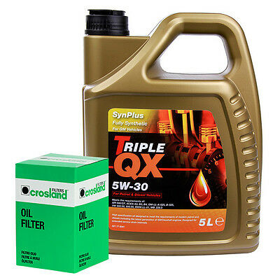 Triple QX Fully Synthetic Plus GM 5W30 Engine Oil 5L and Oil Filter Service Kit