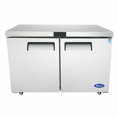 48 2 Door Under Counter Worktop Refrigerator Casters Free Lift Gate Delivery