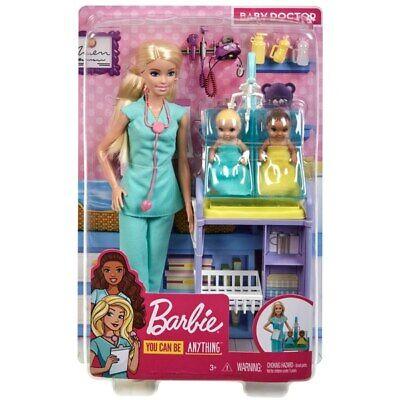 Kids Girls Doctor Barbie Doll W/ Baby Dolls Accesories Set Pretend Playset New