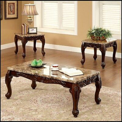 Dark Cherry 3 Piece Table Set Coffee End Tables Marble Accent Sofa Furniture New Cherry Accent End Table