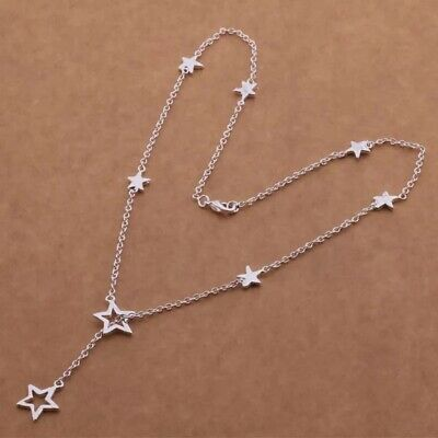 """925 Sterling Silver Multi-Star Lariat Y-Shape Charm Pendant Necklace 16"""" N17"""