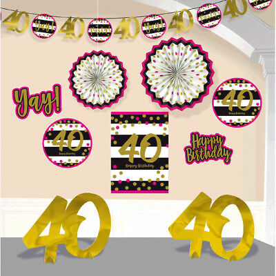 HOT PINK AND GOLD 40th Birthday ROOM DECORATING KIT (10pc) ~ Party Supplies Girl - Pink And Gold Birthday Party Supplies