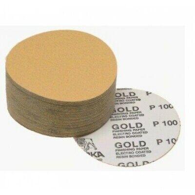 Mirka 23-332-220 Gold 5 Psa Sticky Back Sanding Discs 220 Grit 100 Ct Box