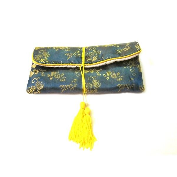 Chinese Silk Jewelry Pouches, Blue