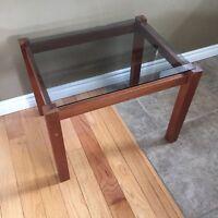 Teak Hardwood End / Side Table with Smoked Glass Top