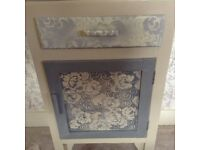 Hand painted grey /cream bedside table