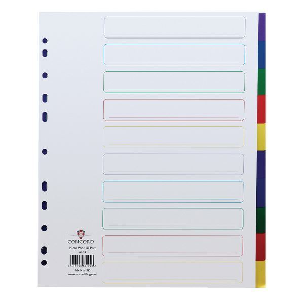 Concord Polypropylene A4 Divider Extra Wide 10 Part Multicoloured [JT66199]